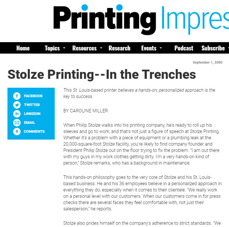 printing solutions, Stolze Printing Company, St. Louis and nationwide service